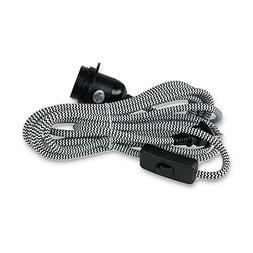 Rustic State Black Fabric Cord Set with Toggle Switch 15 Fee