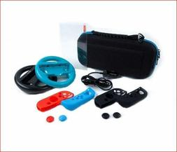 Blue Accessories Kit For Nintendo Switch Carrying Case Joy-C