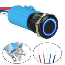 Blue LED 19mm Momentary ON/OFF Push Button Switch Wire Socke