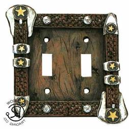 Brown Belt Buckle Double Switch Plate Cover Outlet Southwest