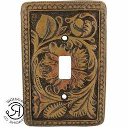 Brown Tooled Leather Look Single Switch Plate Cover Outlet