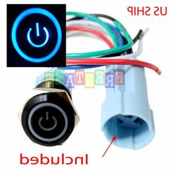 BSF 16mm Blue On Off LED 12V Latching Push Button Power Swit