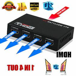 1080P Full HD HDMI Splitter 1 IN 4 OUT Hub Amplifier Repeate
