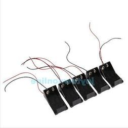 5Pcs DC 9V Volt Battery Clip Holder Box Case Cover with Wire