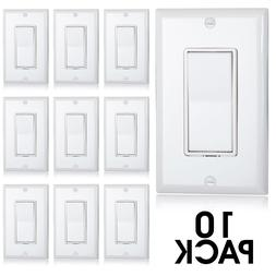 Maxxima 3 Way Decorative Wall Switch White, Wall Plates Incl