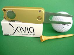 DIVIX GOLF switchblade DIVOT TOOL in SATIN GOLD-MADE IN THE