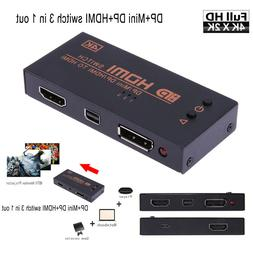 DP HDMI Mini DP DisplayPort to HDMI video Switch 3 in 1 out
