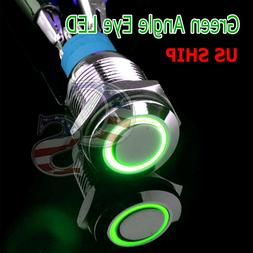 Durable 12V Led 16mm Car Momentary Push Button Green Angel E