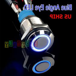 Durable 12V Led 16mm Car Momentary Push Button Blue Angel Ey