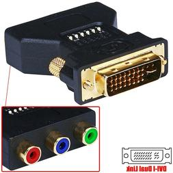 DVI-I Male to 3 RCA Female Video Connector Converter Adapter