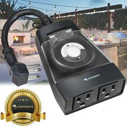 24Hour Plug In Outdoor 2 Outlet Timer Weatherproof Automati