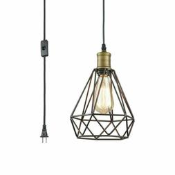 Farmhouse Plug In Pendant Light With On Off Switch Wire Cage