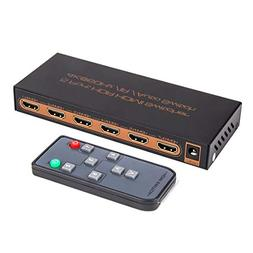 ROOFULL 5 in 1 Out HDMI 2.0 Switch 4K 60Hz HDR HDCP 2.2 Dolb