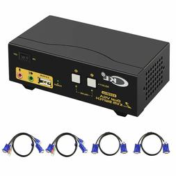 HDMI KVM Switch 4 Port Dual Monitor Extended Display, CKL US