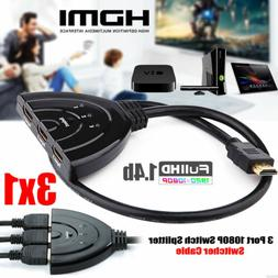 3Port 1080P HDMI Switch Splitter Switcher HUB Box Cable for