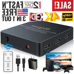 HDMI Switch Splitter Box Hub Full HD Cable Selector with Rem