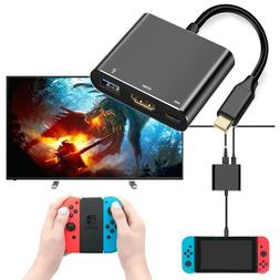 HDMI USB-C Hub Adapter For Nintendo Switch To TV Converter D