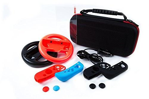 Pegly 13-1 Accessories Kit For Nintendo Switch, Including HD Joy-Con Steering Charger, Silicon and Glass