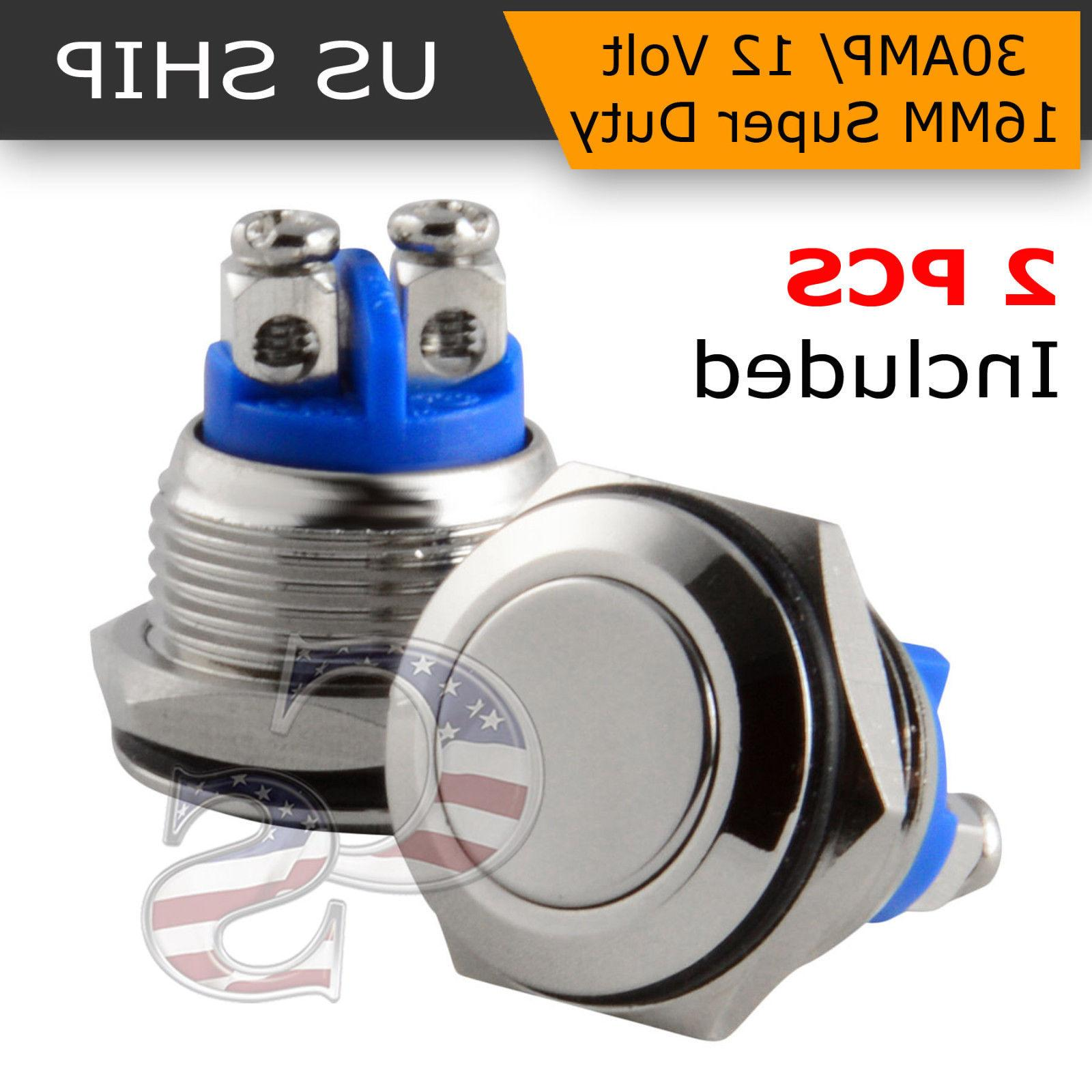 30 amp metal momentary waterproof switch 12v16mm