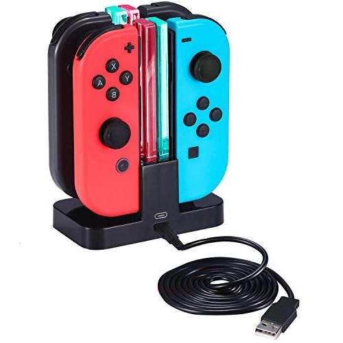 Zadii Bundle with Nintendo Kit with Racket, Steering Wheel, Joy-con 4-Channel Charging Case and Screen Protector