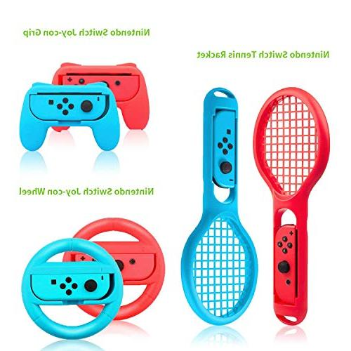 Zadii Compatible with Nintendo Switch, Accessories Kit Steering Wheel, 4-Channel Charging Case and Screen