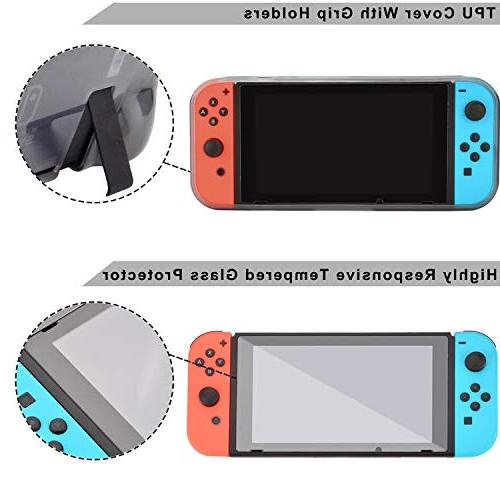 Accessories for Switch Games Starter Grip Caps Screen Protector Controller Charger