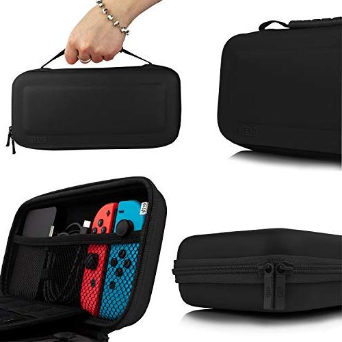 Orzly Carry Case With Nintendo - BLACK Protective Hard Travel Carry Pouch Nintendo Console