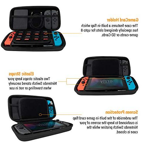 Orzly Carry With - BLACK Protective Hard Portable Travel Pouch Nintendo