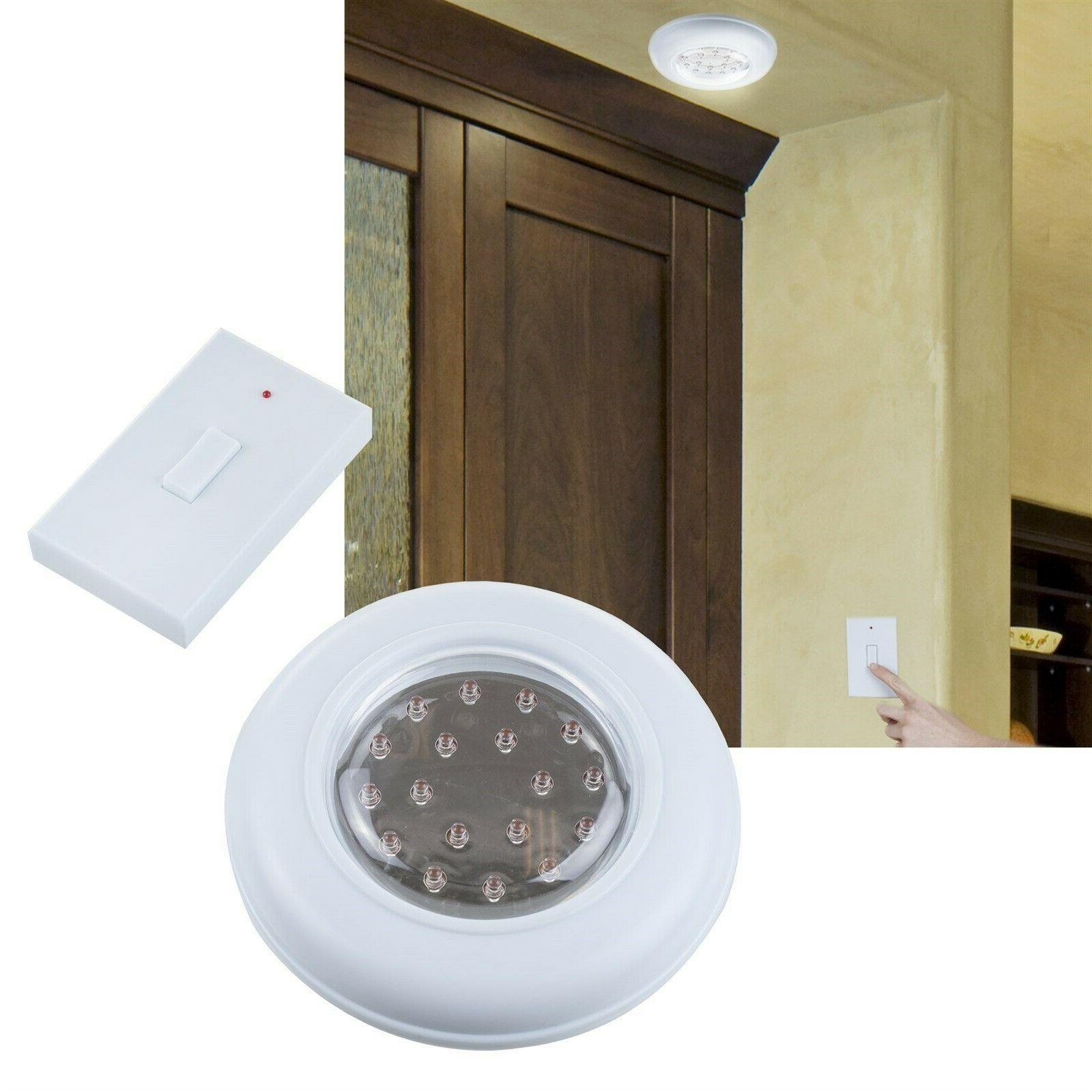 Cordless Wall or Closet Light with Remote Light Switch Batte
