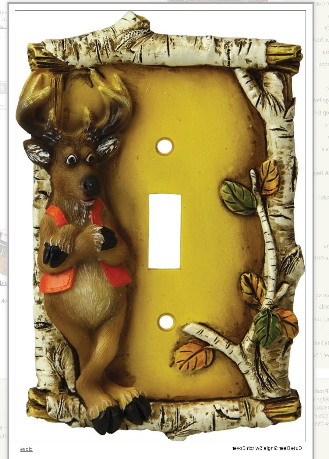 deer on birch branches light switch cover