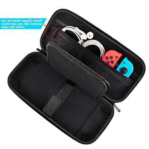 Hestia Switch Carrying Case compatible Switch 20 Game Cartridges Hard Shell Travel Carrying for Nintendo Console & Black