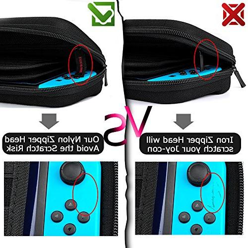 Hestia Goods Switch Carrying Case with Switch - 20 Cartridges Protective Hard Travel Carrying for Switch & Black