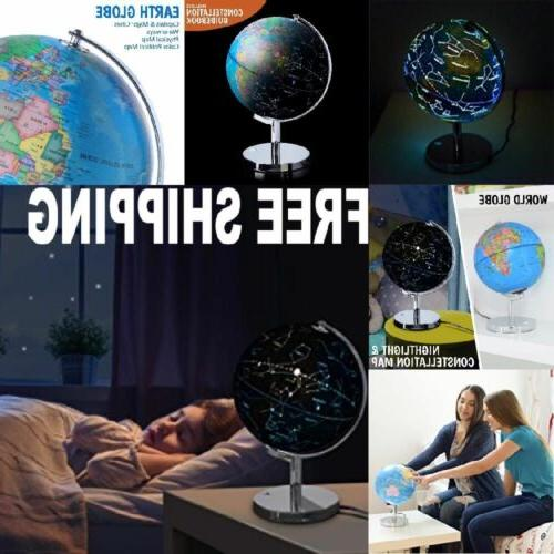 NEW Kid Illuminated World Globe Led w/ Steel Base Map Educat