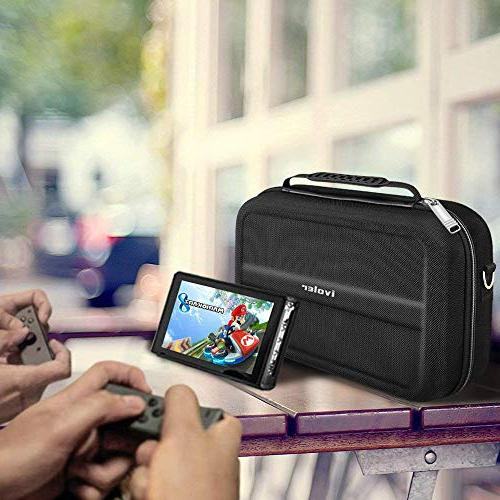 Nintendo Switch Deluxe Storage Case,iVoler Nintendo Switch Protective Hard Lining 18 for Switch Controller &Accessories