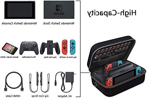 Nintendo Deluxe Case,iVoler Nintendo Carrying-All Hard Messenger Bag Lining Switch Console &Accessories Black