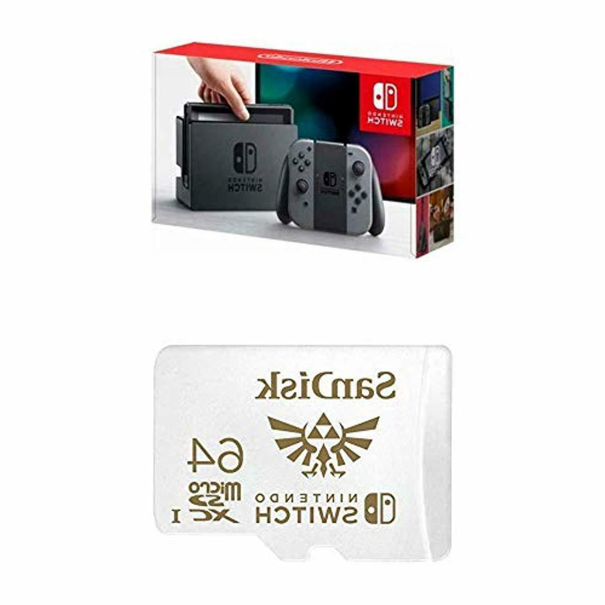 nintendo switch gray joy con with sandisk