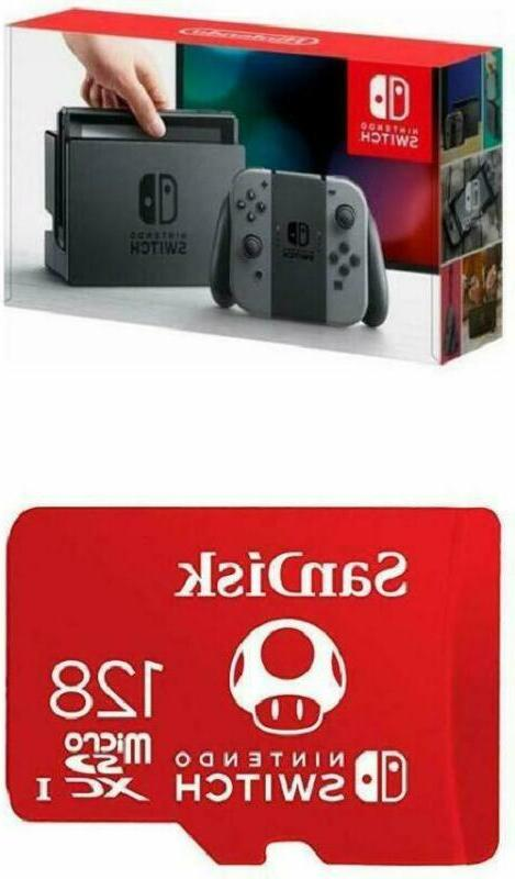 Nintendo Switch - Gray Joy-Con with SanDisk 128GB MicroSDXC