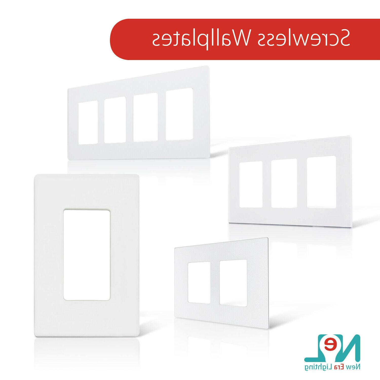 screwless wallplate 1 3 gang white switch