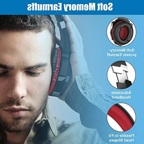 BENGOO Stereo for PC, Xbox One Controller, Over Headphones Mic, LED Surround, Soft Memory for Laptop Mac Nintendo Games -Red