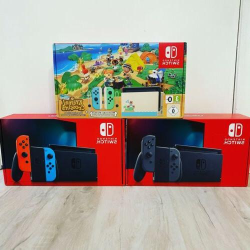 switch console neon red blue gray animal