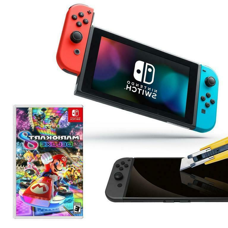 switch console w mario kart 8 deluxe