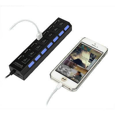 7-Port USB Charger Splitter Expansion Adapter ON/OFF Switch