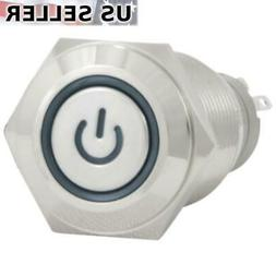 16mm 12V Latching Push Button Power Switch Stainless Steel B