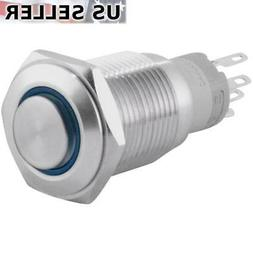 16mm Latching Push Button Power Switch Stainless Steel w/ Bl