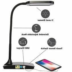 LED Desk Lamp with USB Port 3Way Touch Switch Builtin USB Ou