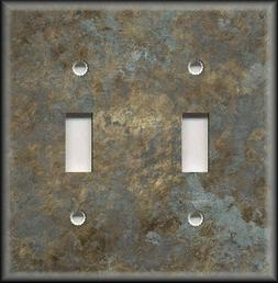 Light Switch Plate Cover - Image Of Aged Metal Gold Silver H