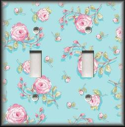 Light Switch Plate Cover - Shabby Chic Pink Roses Blue - Sha