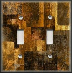 Metal Abstract Art Light Switch Plate Cover Decor Brown Gold