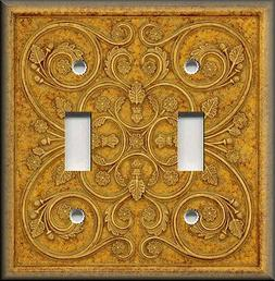 Metal Light Switch Plate Cover - French Pattern Design Honey