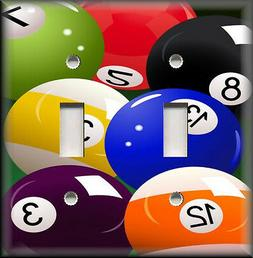 Metal Light Switch Plate Cover - Pool Balls Game Room Home P